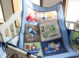 promotion 7pcs embroidery boy baby cot crib bedding set cuna baby