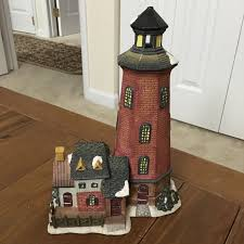 nautical home decor lighthouse lamp ceramic holiday scene snow red