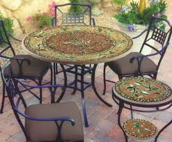 Bistro Set Bar Height Outdoor by Dining Room Floral Pattern Of Mosaic Bistro Table With Black Legs