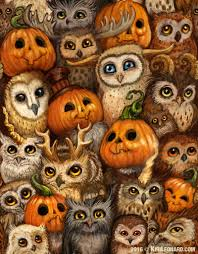 Folk Art Halloween Decorations Pumpkin Parliament By Kiri Ostergaard Leaonard Owls Art