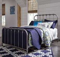 signature design by ashley nashburg full metal bed in aged pewter