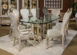 aico platine de royale rectangular glass top dining set in