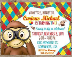 curious george birthday invitations curious george birthday