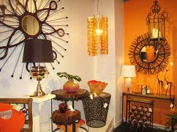 hippie home decor with fireplace and decorative lamp also table
