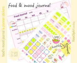 mood chart etsy printable food and mood journal menu diary page markers chart meal tracker planner instant download eating disorder