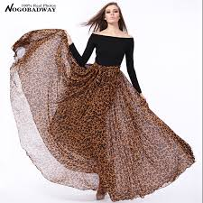 buy plus size vintage printed chiffon casual skirts womens summer