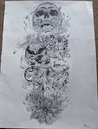 heja detail skull sleeve drawings