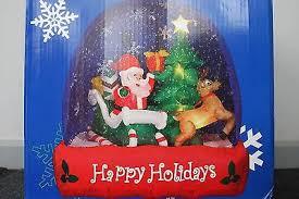 6 gemmy airblown snow globe santa in sleigh no