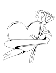 coloring pages of hearts and roses tied with ribbon on valentine s