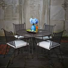 Wrought Iron Patio Dining Set Furniture Black Metal Patio Dining Table With Chair Using White