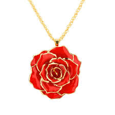 gold red rose necklace images Estink 30mm golden necklace chain with 24k gold dipped real rose jpeg