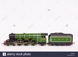 a close up of a hornby toy model electric steam train engine