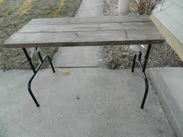small reclaimed wood table work desk with folding metal legs use