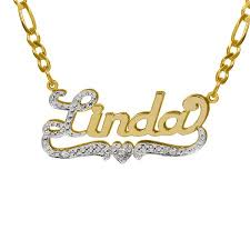 gold name plate necklace personalized 10k yellow gold nameplate necklace with initial