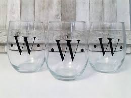 wine glass with initials wine glass for him wine glass for men wine glass for