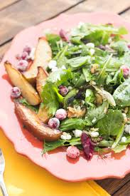 thanksgiving countdown roasted pear salad with lemon vinaigrette