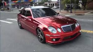 car mercedes red chrome red wrap on mercedes benz e63 amg youtube
