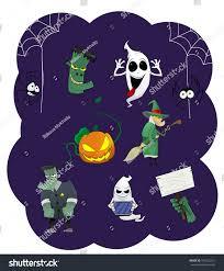 halloween vector icons pumpkin ghost spiders stock vector
