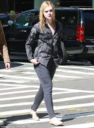 elle fanning sports wet hair on new york city set daily mail online