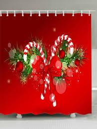 Waterproof Fabric Shower Curtains Christmas Candy Cane Print Waterproof Fabric Shower Curtain Red