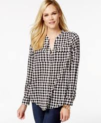 houndstooth blouse charter 2 pocket blouse peacock print tops macy s