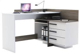 bureau d angle bureau d angle thales à 3 tiroirs blanc décor chêne collishop