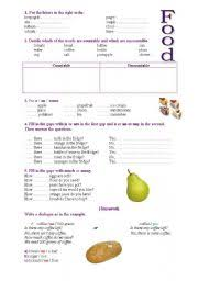 esl worksheets for beginners countable and uncountable nouns food