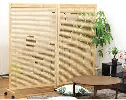 Folding Screen Room Divider Japanese Movable Wood Partition Wall 2 Panel Folding Screen Room