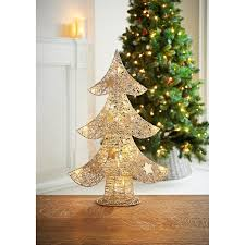 Champagne Glitter Christmas Decorations by Light Up Glitter Tree 55cm Champagne Christmas Decorations B U0026m