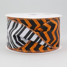 sided ribbon 2 5 metallic chevron stripes 2 sided ribbon orange white