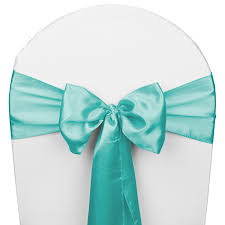 Chair Sashes Teal Turquoise Satin Wedding Chair Sash 5 Pk Smarty Had A Party