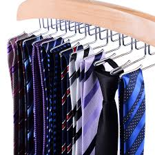 amazon com ohuhu wooden tie rack hangers rotating twirl 24 tie