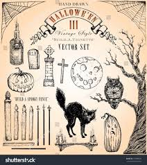 hand drawn vintage halloween 3 vector stock vector 132898376