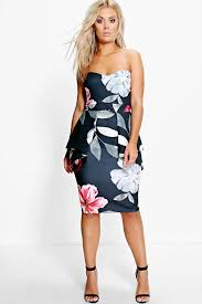 boo hoo clothing plus sinead floral peplum dress boohoo