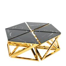 black marble coffee table ellipse coffee table set of six table in gold finish with black