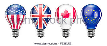 Light Bulbs International Light Bulb With Canada Flag 3d Rendering Isolated On White Stock