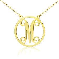 initial monogram necklace solid gold single initial monogram necklace