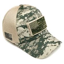 Military Flag Patch Military Army Usa Flag Patch Mesh Baseball Hat Cap Adjustable