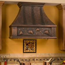 Copper Kitchen Decor by Decor Wood Stove Hood In Brown For Pretty Kitchen Decoration Ideas