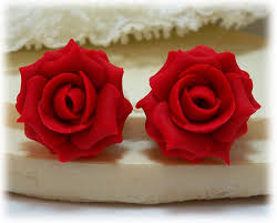 apple red apple red rose stud earrings red rose clip on earrings