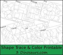 3 dinosaurs shape trace u0026 color printable
