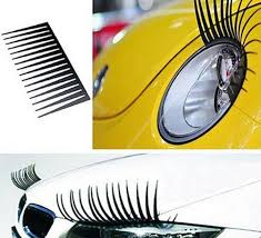 1pair vehicle black fake eyelashes styling headlight decorative