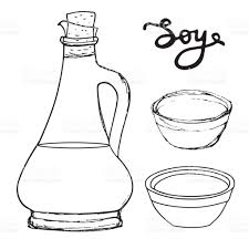 soy sauce bottle with bowls and hand drawn letters vector