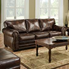 Brown Leather Sleeper Sofa Leather Sofa Nailhead Trim Leather Reclining Sectional Sofa With
