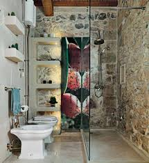 rustic modern interiors bathroom with stone walls and walk in