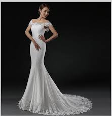 off shoulder lace wedding gowns mermaid pattern lace up corset fit