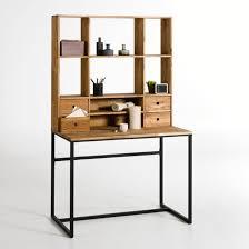 rehausse bureau bureau chêne et métal avec rehausse hiba noir bois la redoute