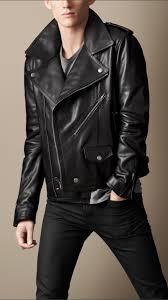 mens black leather motorcycle jacket burberry brit leather biker jacket in black for men lyst