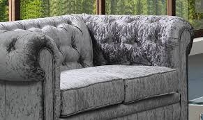 Grey Silver Sofa Chesterfield Crushed Velvet 3 2 Suite One Stop Furniture Shop