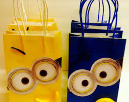 minion gift bags despicable me favors etsy